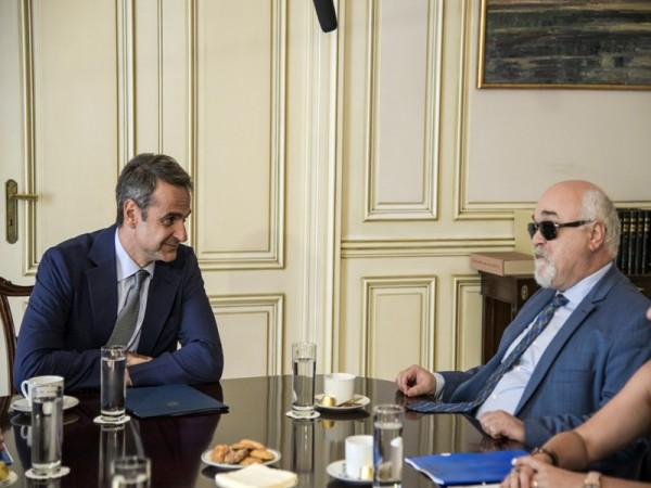 Μητσοτάκης - Βαρδακαστάνης κατά τη διάρκεια της συνάντησης